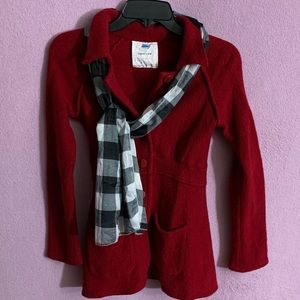Anthropologie Sparrow Red Wool Coat Small